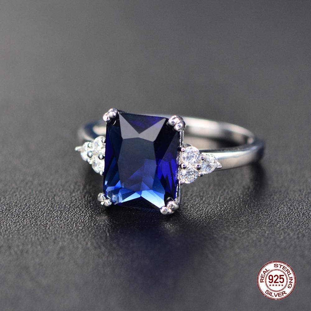 Gemstone Ring Silver Emerald Blue Sapphire Ring For Women engagement