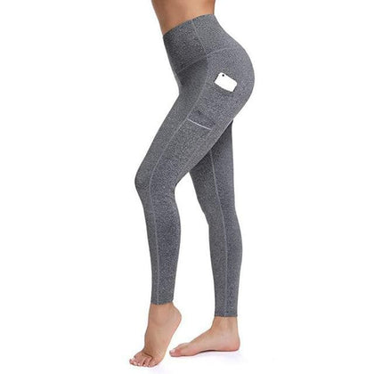 Leggings With Pocket Women Gym Tights Push Up Running Pants Workout High Waist Active Wear Yoga Pants Tummy Control Leggings - Go Buy Dubai