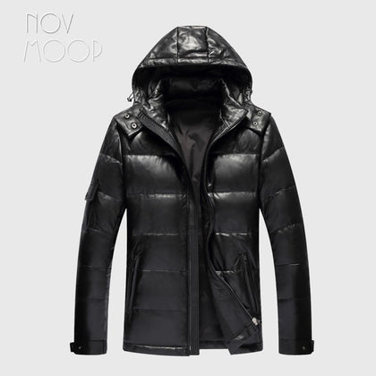 Novmoop canada black slim clothes hooded sheepskin genuine leather down jacket male winter thick coat jaqueta masculino LT2833 - Go Buy Dubai