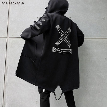 VERSMA Korean Style Clothing Men Ribbon Patch Mens Long Jackets Hip Hop Streetwear Long Gothic Punk Men Trench Coat Dropshipping - Go Buy Dubai