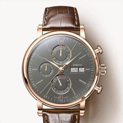 Men Watches Luxury Brand Perpetual Calender Auto Mechanical Men's Clock Sapphire Leather - Go Buy Dubai