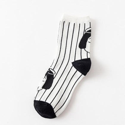 Striped Socks Solid Cotton Female  Funny Creative Cartoon socks - Go Buy Dubai