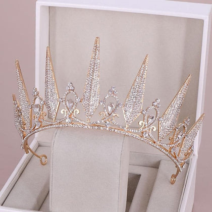 Fashion Design Round Gold Silver Crystal Tiara Crown Hair Jewelry for Women Princess Birthday Bridal Bride Wedding Ornament 27cm - Go Buy Dubai