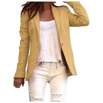 Women's Blazer Long Sleeve  Solid One Button Coat Slim Office Lady Jacket Blazers - Go Buy Dubai
