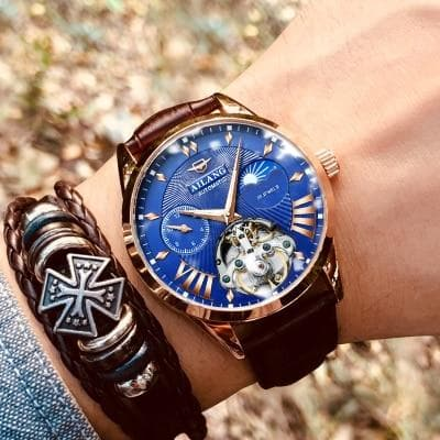 Men's Watch Men Moon Phase Automatic Swiss Diesel Watches Mechanical Transparent Steampunk Clock - Go Buy Dubai
