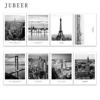Modern New York London Paris City Wall art Landscape Posters and Prints Black And White Pictures for Living Room Home Decor - Go Buy Dubai