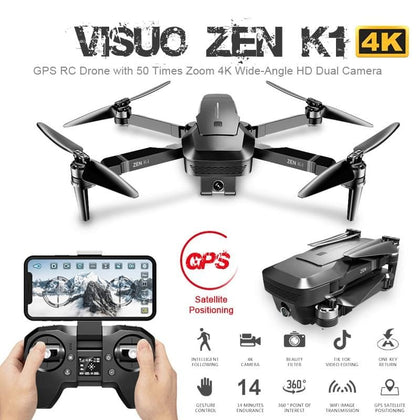 ZEN K1 GPS RC Drone with 50 Times Zoom 4K Wide-Angle HD Dual Camera 5G Wifi FPV Brushless Motor Flight 28mins Drone - Go Buy Dubai