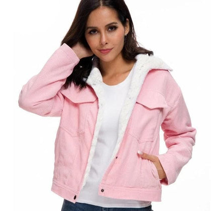 Women Winter Jacket Thick Fur Lined Coats  Bomber Jackets Cute Outwear - Go Buy Dubai