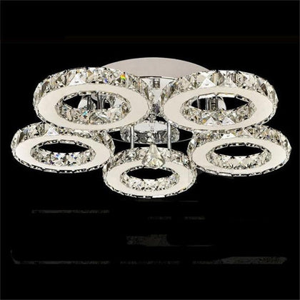 Modern Crystal Rings Ceiling Chandelier Lights Silver Crystal Led Plafonnier for Bedroom Kitchen Ceiling Lamp Lustre - Go Buy Dubai