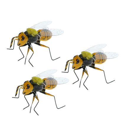 3x Vivid Bee Insect Imitation Animal Fridge Magnet Toys Outdoor Garden Lawn Tree Decor Flower Pot Miniature Craft - Go Buy Dubai