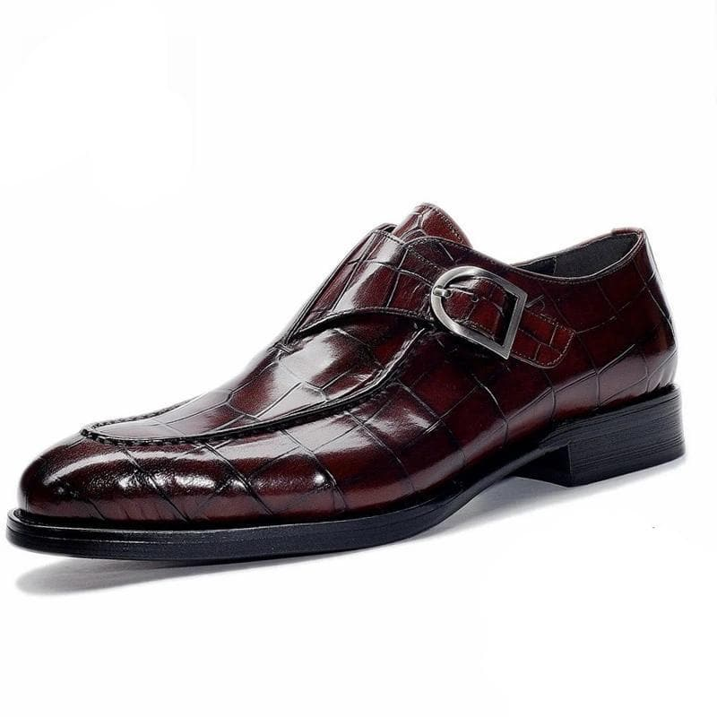 Men's Fashion Vintage Crocodile Pattern Genuine Bullock Leather Slip-on Formal Brogue Shoes
