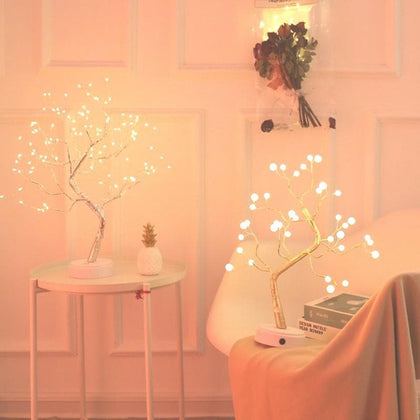 108 LED USB 3D Table-Lamp Copper wire Christmas Fire Tree Night light for Home Holiday bedroom indoor kids bar Decor fairy light - Go Buy Dubai