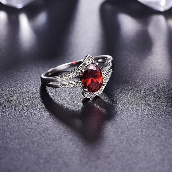 Sterling Silver Rings for Women Wedding Engagement Purple Red  Gemstone Ring