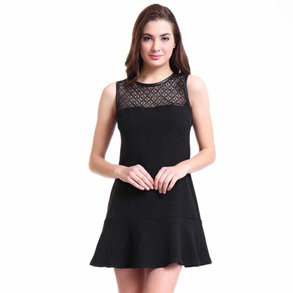 Women's Warm Vintage Party Black Knitted Dress - Go Buy Dubai