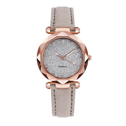 Dropshipping Women Romantic Starry Sky Wrist Watch Leather Rhinestone Designer Ladies Clock Simple Dress Gfit Montre Femme D30 - Go Buy Dubai