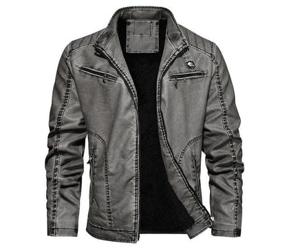 New Men's Leather Warm Slim Fit Faux Leather Motorcycle Jackets - Go Buy Dubai