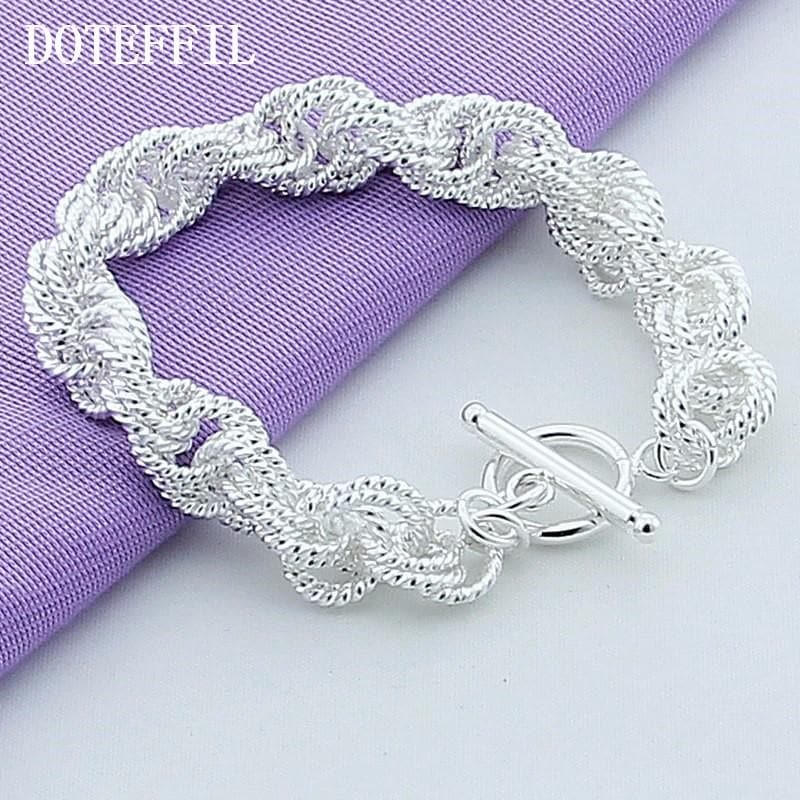 New Fashion Jewelry Brand Design 925 Silver Color Charm Bracelet Exquisite Bracelets Plated Silver Bangle For Women Gift Party