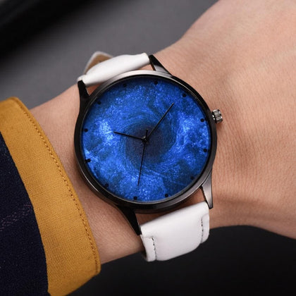 New Women Fashion Romantic Luxury Universe Dark Blue Star Clock Gift Leather Belt Watch Ladies Quartz WristWatch Kol Saati #B - Go Buy Dubai
