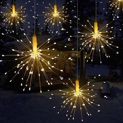 Festival Hanging Starburst String Lights 120-240 Leds DIY firework Copper Fairy Garland christmas lights outdoor Twinkle Light - Go Buy Dubai