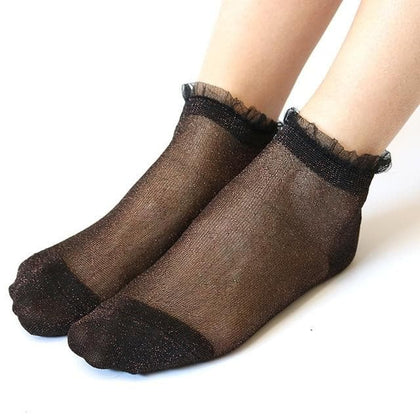 Women Lace Ruffle Soft Comfy Sheer Silk  Transparent Ankle socks - Go Buy Dubai