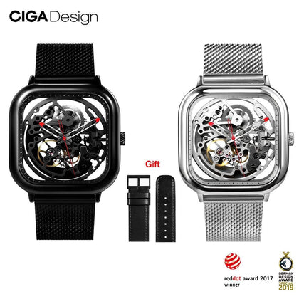 CIGA Watch Automatic Hollowing Mechanical Watch Fashion Watch Male Square Mechanical Watch - Go Buy Dubai
