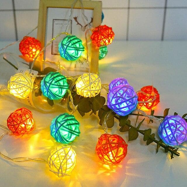 20/40 Rattan Balls LED String Lights Battery Garland Cotton Ball Light Chain Guirlande Lumineuse Holiday Christmas Lights Balls