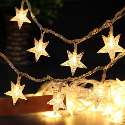 3m/5m/10m LED star String Lights Christmas garland battery USB powered led Wedding Party Curtain string Fairy Lights for home - Go Buy Dubai