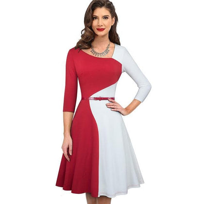 JLO Collections 1950s Retro Patchwork Winter Business Party Flare A-Line Women Elegant Dress - Go Buy Dubai