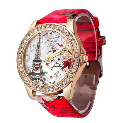 Creative Retro Watches Doodle Strap Diamond Romantic Love Tower Pattern Couple Watch Leather Band Analog Quartz Wrist Watches Q - Go Buy Dubai