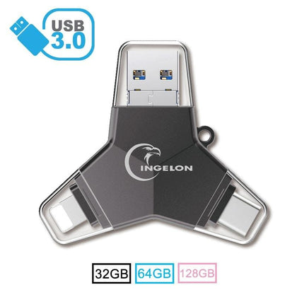 New 4 in 1 Flash Drive Pen Drive 64 gb usb 3.0 128gb Metal Pendrive Type C Memoria usb DIY Name Logo DJ otg 32gb for iphone & PC - Go Buy Dubai
