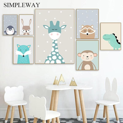 Cute Cartoon Baby Animal Penguin Monkey Nursery Poster Canvas Art Print Wall Painting Nordic Kids Child Room Decoration Picture - Go Buy Dubai