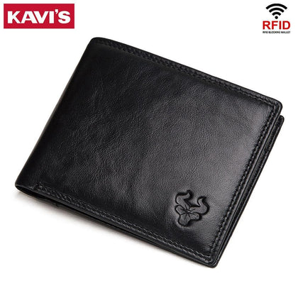KAVIS Cow Genuine Leather Men Wallets with Coin Pocket Small Male Purse Mini Function Brown Genuine Leather with Card Holders - Go Buy Dubai