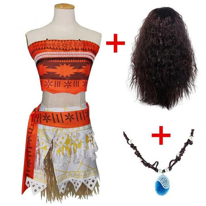 Adult Kids Princess Vaiana Moana Costume Dresses with Necklace Wig Women Girls Halloween Party Moana Dress Costumes Cosplay - Go Buy Dubai