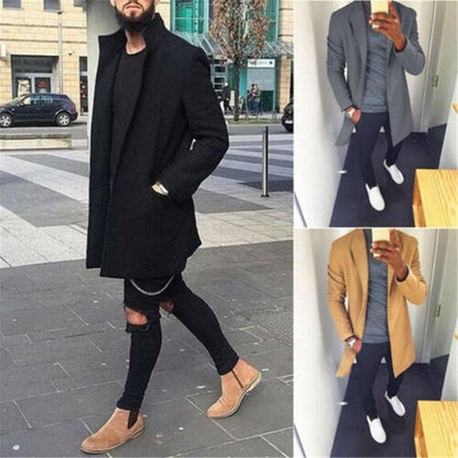 Men Modis Open Stitch Trench Coat Wool Retro Warm Long Overcoat Slim Fitness  Black Red Trench Coat Male Outwear Streetwear - Go Buy Dubai