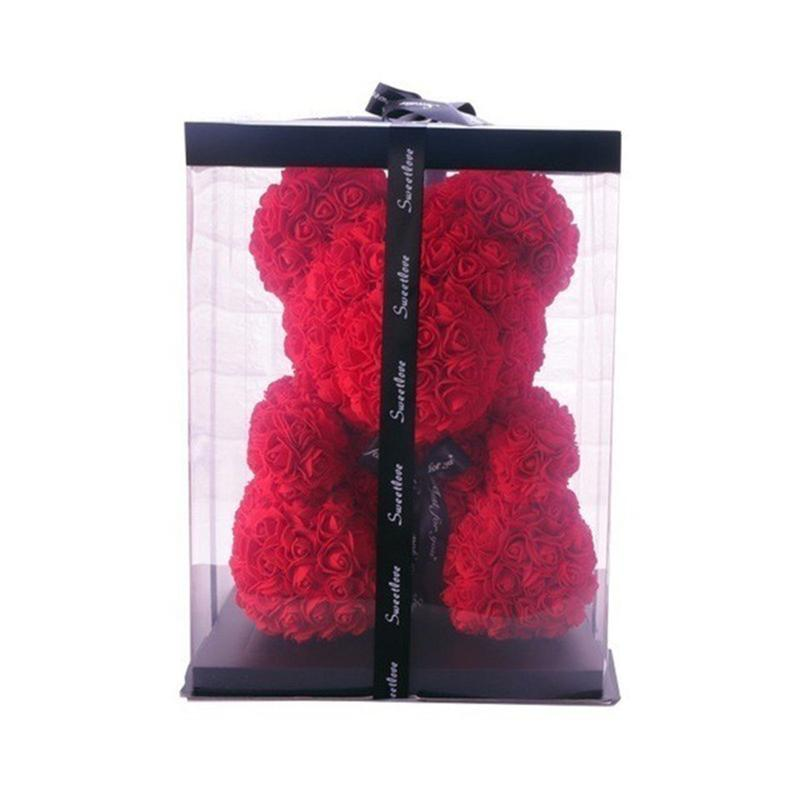 New 25cm Teddy Rose Flower Bear Gift Box Wedding Christmas Decoration Valentine's Day Give A Girlfriend Gif
