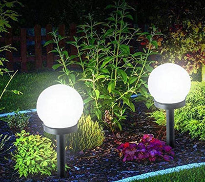 Outdoor Lawn Garden Ball 2 PCS LED Solar Energy Waterproof Powered Bulb - Go Buy Dubai