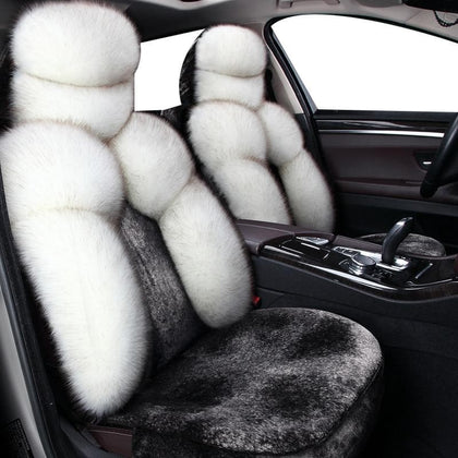 Luxury Universal Autumn Winter Warm Fur wool Car Seat Covers for kia ceed kia rio 3 spectra kia sportage 3 picanto cerato rio k2 - Go Buy Dubai