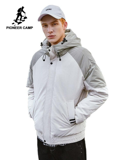 Pioneer Camp Fashion Men's Down Jacket Thick Khaki Color Hooded Warm Zipper Coat Jackets 2019 AYR903428 - Go Buy Dubai