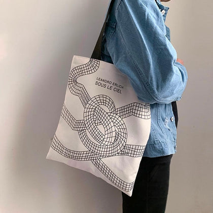 Ladies Handbags Cloth Canvas Tote Bag Cotton Shopping Travel Women Eco Reusable Shoulder Shopper Zipper Bags bolsas de tela - Go Buy Dubai