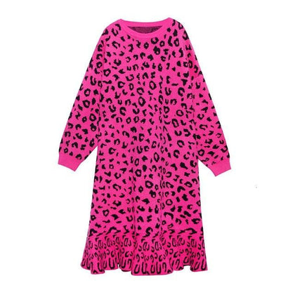Women Leopard Printed Ruffles knitted Dress New Round Neck Long Sleeve Loose Fit Fashion Spring 2020 - Go Buy Dubai