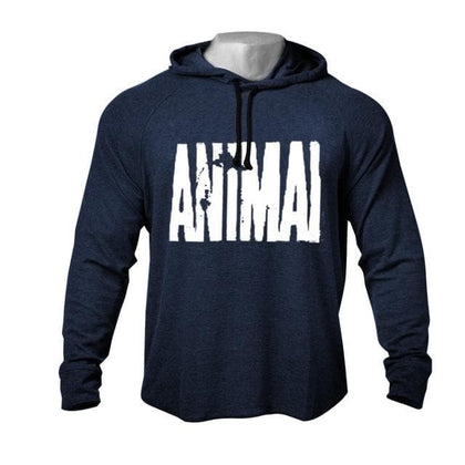 "Men's GYM Workout Print ""ANIMAL"" Bodybuilding Cotton Raglan Hoodies Sweatshirts Raw-Cut&Hem-Cut Hoodies Tracksuit Top - Go Buy Dubai"