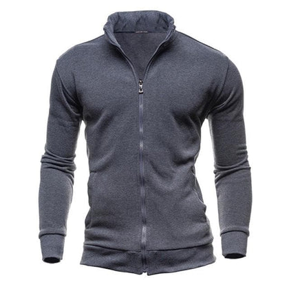 Men Coat Brand Clothing Fashion Zip Stand Collar Man Casual Slim Hooded Sweatshirt - Go Buy Dubai