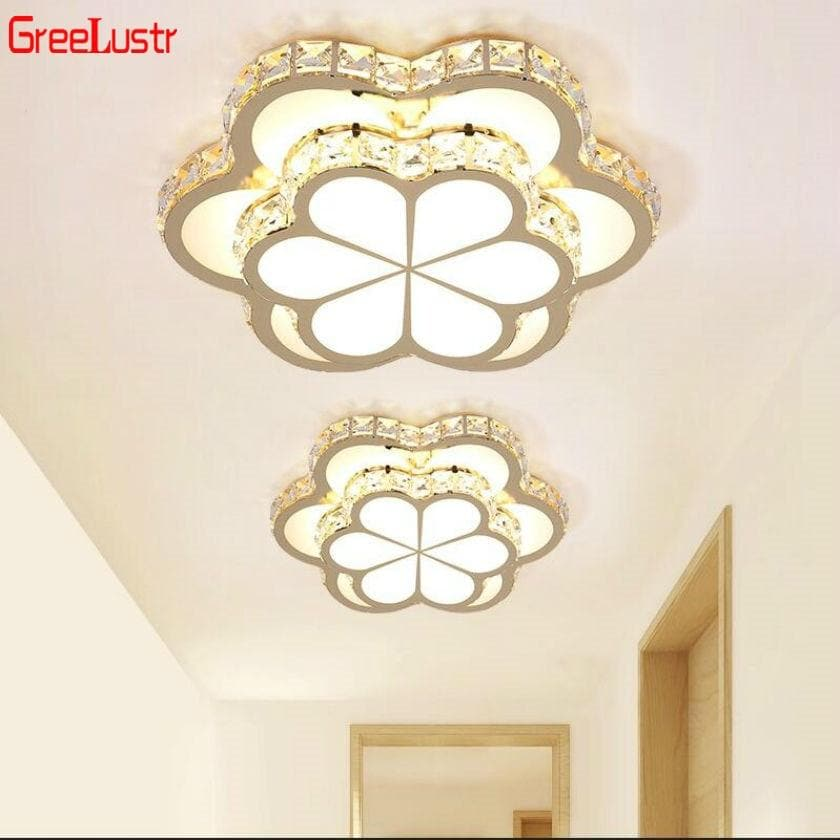 Modern Led Ceiling Light Golden Crystal Abajour Corridor Lamps Lustre Flower Plafonnier Luminaria Iluminacion Bedroom lampe