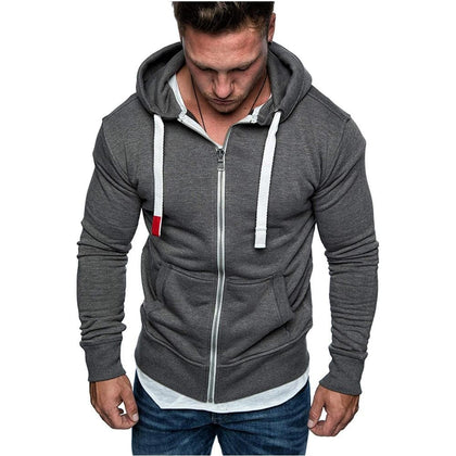 Dropshipping New Fashion Men's Sweatshirts Solid Slim Fit Sportswear Men Hoodies Long Sleeve Casual Hooded Zipper Hoodie Men - Go Buy Dubai