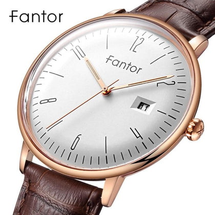F Men's Watch Men Top Brand Luxury Classic Genuine Leather Waterproof Quartz Wristwatch Mens Watches - Go Buy Dubai