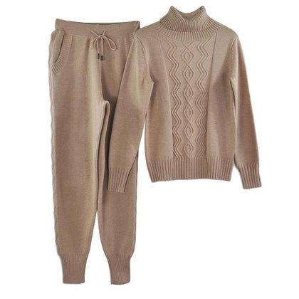 MVGIRLRU soft wool Knitted suit autumn winter Women's Tracksuits Twist knitting turtleneck sweater pant two piece sets plus size - Go Buy Dubai