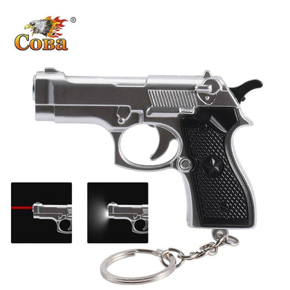 Coba mini gun gift keychain flashlight 2 modes led light and infrared light use 3*button battery interesting decorations light - Go Buy Dubai