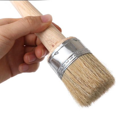 1PC Wood Large Brushes with Natural Bristles Chalk Paint Wax Brush for Painting or Waxing Furniture Stencils Folk art Home Decor - Go Buy Dubai