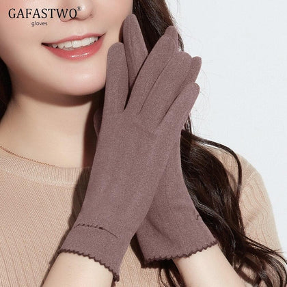 Thin Section Self-Heating Ladies Warm Gloves Women Fashion Casual Touch Screen Gloves Autumn Winter Windproof Embroidery Korean - Go Buy Dubai
