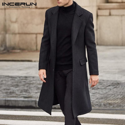 INCERUN Winter Fashion Men Coats Wool Jackets Plain Long Sleeve Warm Faux Fleece Trench Coats Men Long Overcoat Streetwear 2019 - Go Buy Dubai